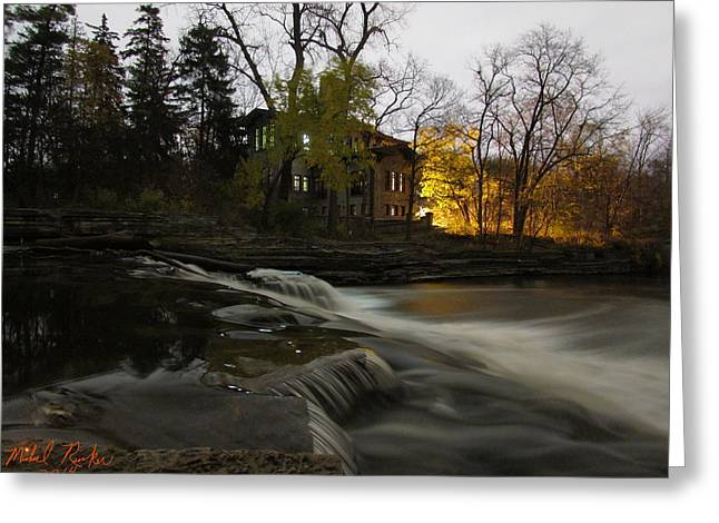 Edison Greeting Cards - Henry Ford Mansion Waterfall Greeting Card by Michael Rucker
