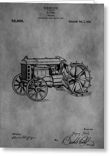 Old Barns Drawings Greeting Cards - Henry Ford Tractor Patent Greeting Card by Dan Sproul