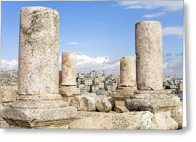 Historic Site Greeting Cards - Hercules Temple, Amman Citadel, Jordan Greeting Card by Adam Sylvester