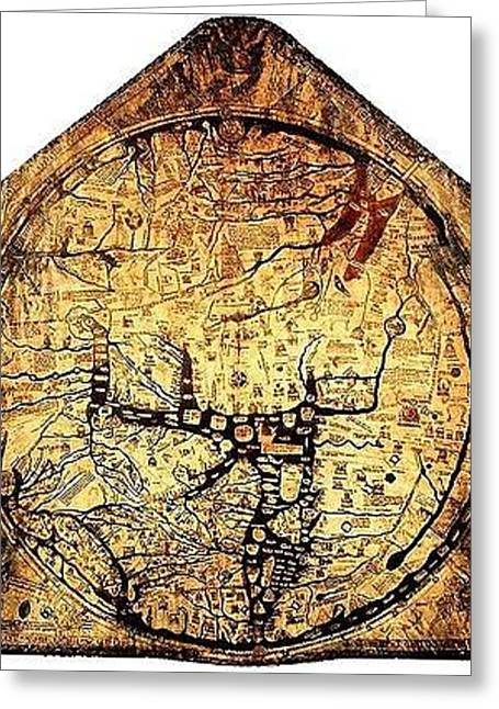 Single Mixed Media Greeting Cards - Hereford Mappa Mundi 1300 UPSZED Greeting Card by L Brown