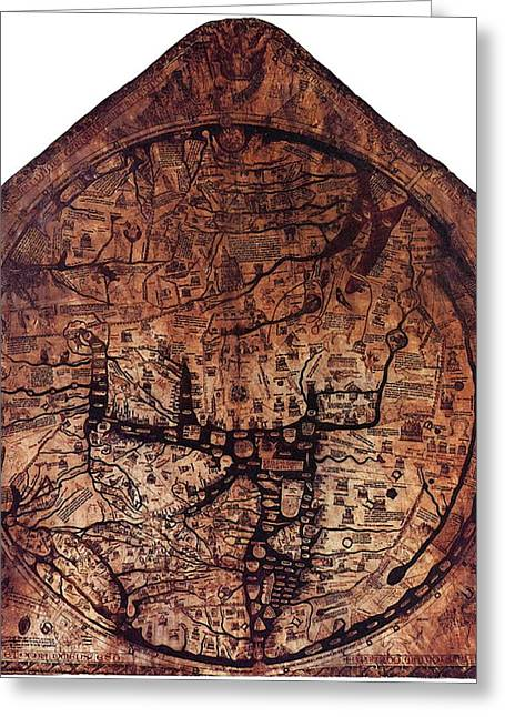 Renaissance Center Greeting Cards - Hereford Mappa Mundi 1300 Upsized Greeting Card by L Brown
