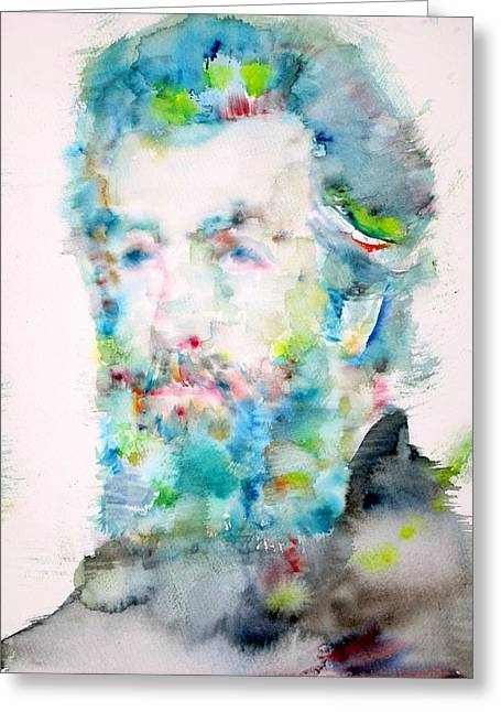 Moby Dick Greeting Cards - HERMAN MELVILLE - watercolor portrait Greeting Card by Fabrizio Cassetta