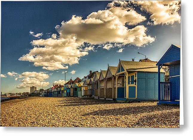 Tower Clock Greeting Cards - Herne bay beach huts Greeting Card by Ian Hufton