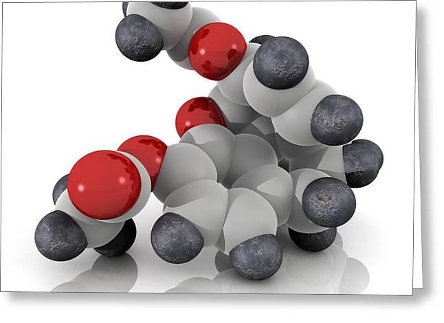 Addictive Drug Greeting Cards - Heroin Molecule Greeting Card by Phantatomix