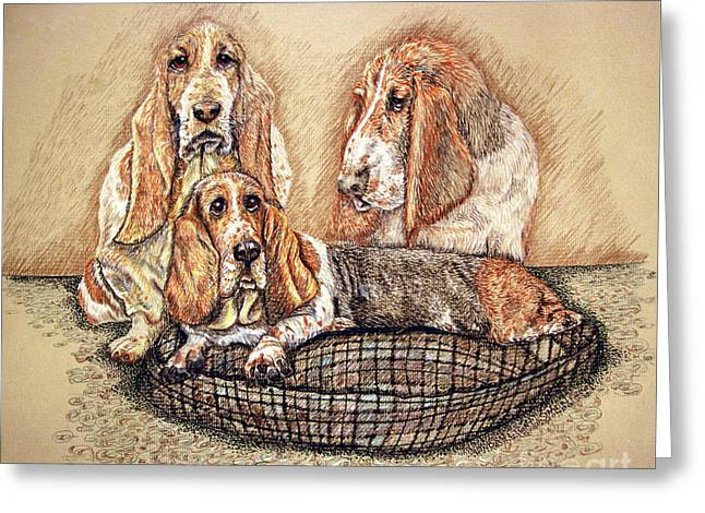 Hess'er Puppies Greeting Card by Linda Simon