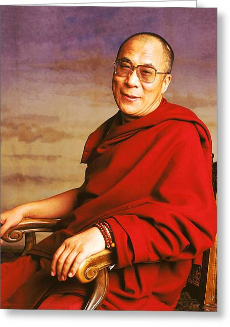 Tibetan Buddhism Greeting Cards - H.H. Dalai Lama Greeting Card by Jan Faul