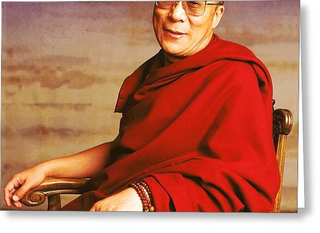 H.H. Dalai Lama Greeting Card by Jan Faul