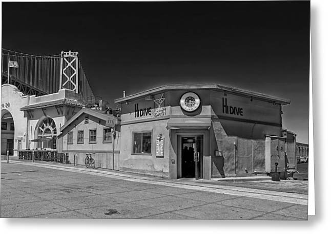 Historic City Pier Greeting Cards - Hi Dive Bar Pier 28 San Francisco Greeting Card by Mountain Dreams