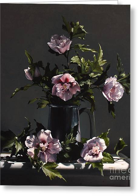 Pewter Greeting Cards - Hibiscus Greeting Card by Larry Preston
