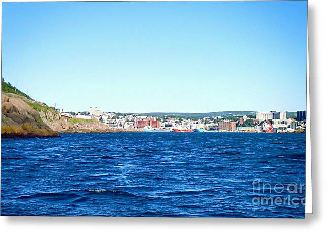 Lighthouse By The Ocean Greeting Cards - Hidden Port City - St. Johns - Entering the Narrows Near Fort Amherst Rock by Barbara Griffin Greeting Card by Barbara Griffin