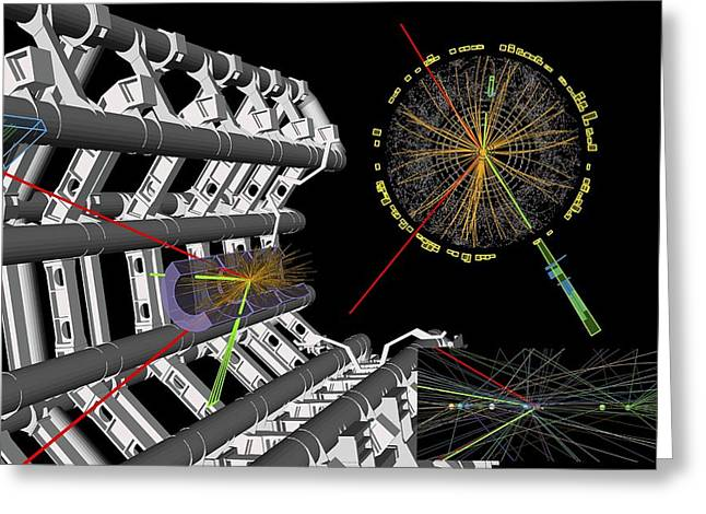 Lhc Greeting Cards - Higgs boson research, ATLAS detector Greeting Card by Science Photo Library