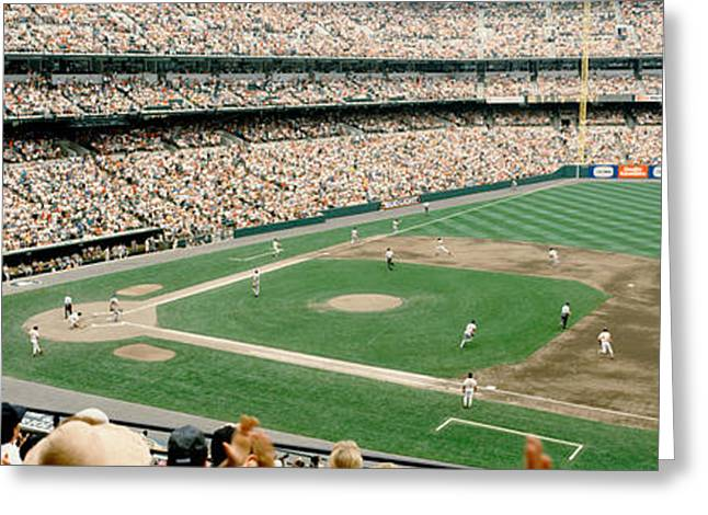 Baltimore Oriole Greeting Cards - High Angle View Of A Baseball Field Greeting Card by Panoramic Images