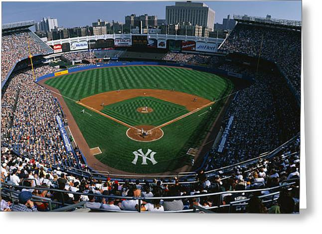 High Angle Greeting Cards - High Angle View Of A Baseball Stadium Greeting Card by Panoramic Images