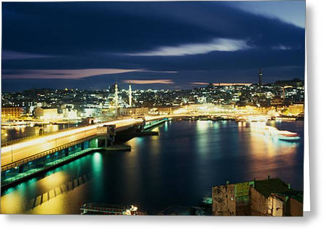 Istanbul Greeting Cards - High Angle View Of A Bridge Lit Greeting Card by Panoramic Images