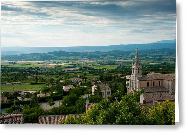 Vaucluse Greeting Cards - High Angle View Of A Church, Bonnieux Greeting Card by Panoramic Images
