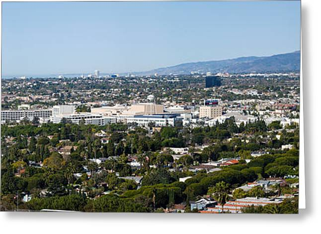California Ocean Photography Greeting Cards - High Angle View Of A City, Culver City Greeting Card by Panoramic Images