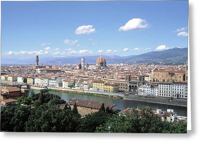Florence Greeting Cards - High Angle View Of A City, Florence Greeting Card by Panoramic Images