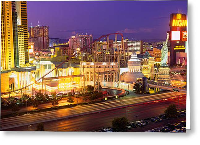 Script Greeting Cards - High Angle View Of A City, Las Vegas Greeting Card by Panoramic Images