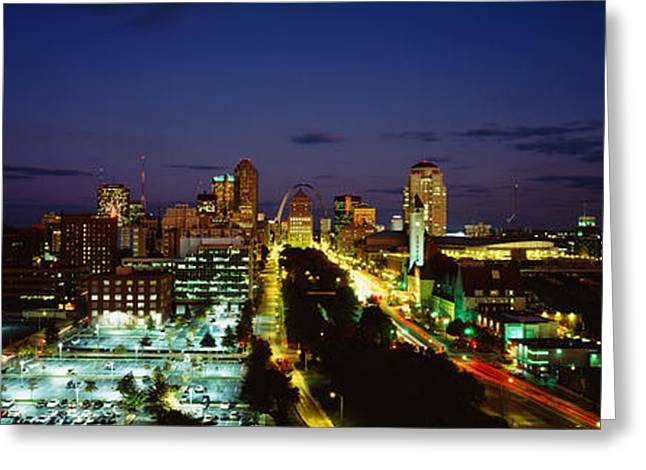 Kansas City Greeting Cards - High Angle View Of A City Lit Up At Greeting Card by Panoramic Images