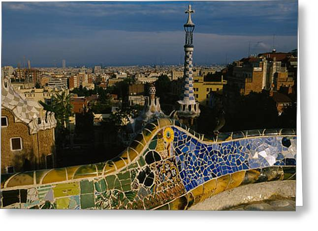 Parc Greeting Cards - High Angle View Of A City, Parc Guell Greeting Card by Panoramic Images