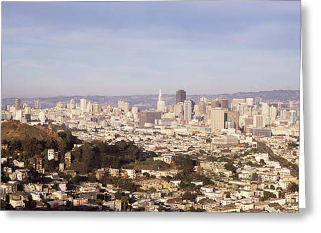 Downtown District Greeting Cards - High Angle View Of A City, San Greeting Card by Panoramic Images