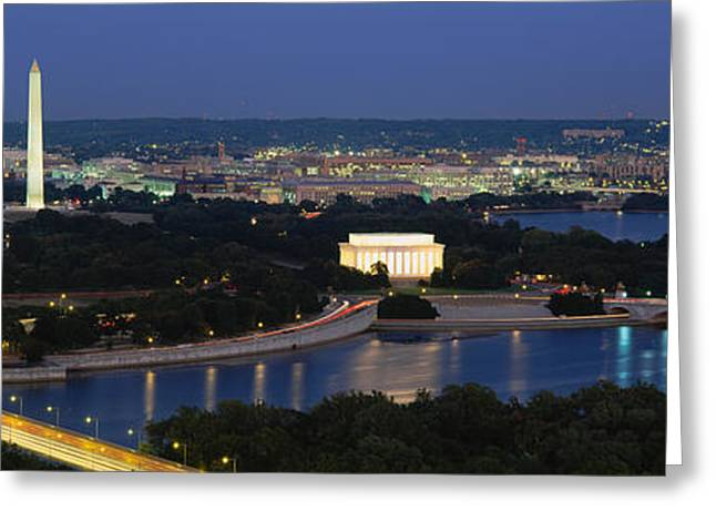 Obelisk Greeting Cards - High Angle View Of A City, Washington Greeting Card by Panoramic Images