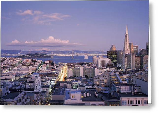 Commercial Building Greeting Cards - High Angle View Of A Cityscape From Nob Greeting Card by Panoramic Images