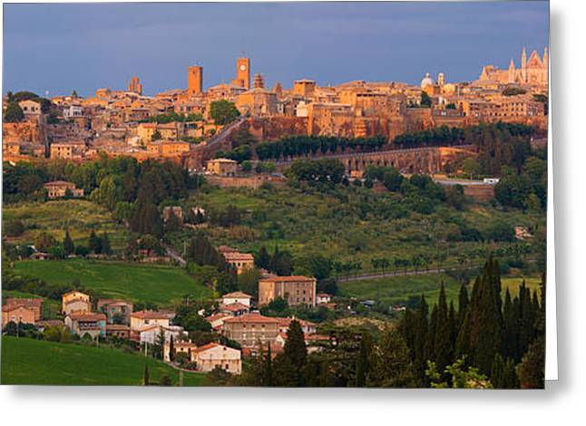 Orvieto Greeting Cards - High Angle View Of A Cityscape Greeting Card by Panoramic Images