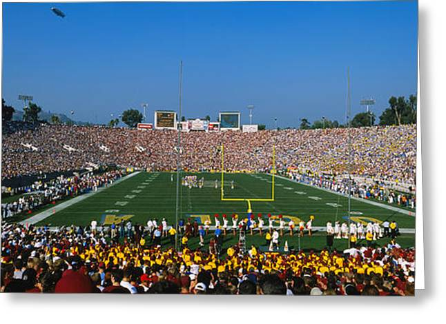 Usc Greeting Cards - High Angle View Of A Football Stadium Greeting Card by Panoramic Images