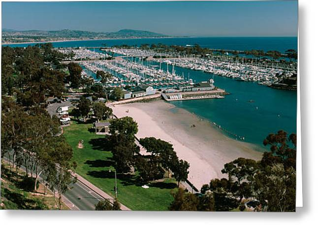 Danae Greeting Cards - High Angle View Of A Harbor, Dana Point Greeting Card by Panoramic Images