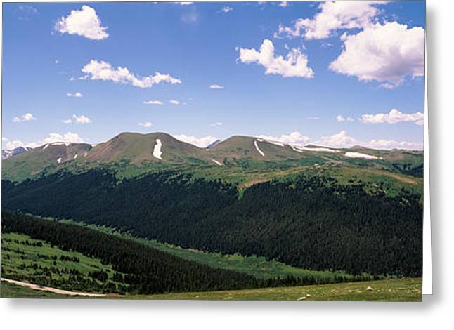 Panorama Mountain Images Greeting Cards - High Angle View Of A Mountain Range Greeting Card by Panoramic Images