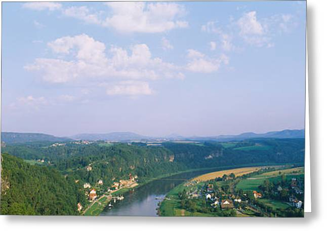 Saxony Greeting Cards - High Angle View Of A River Flowing Greeting Card by Panoramic Images