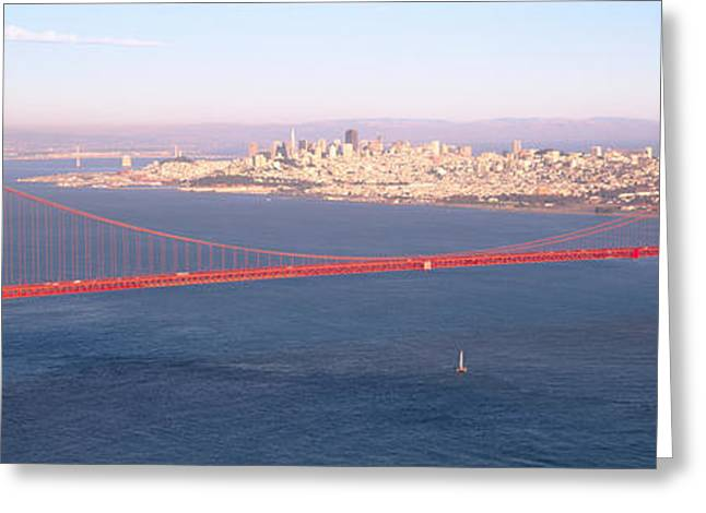 High Angle View Of A Suspension Bridge Greeting Card by Panoramic Images