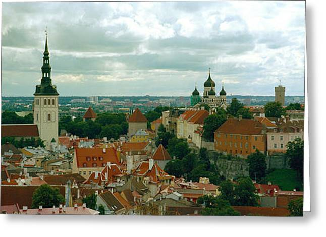 Tallinn Greeting Cards - High Angle View Of A Townscape, Old Greeting Card by Panoramic Images