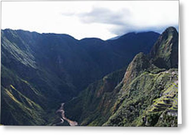 Civilization Greeting Cards - High Angle View Of A Valley, Machu Greeting Card by Panoramic Images