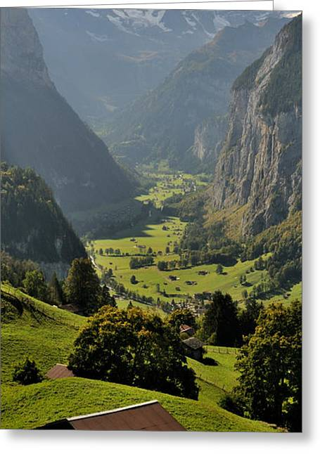 Lauterbrunnen Greeting Cards - High Angle View Of A Valley Greeting Card by Panoramic Images
