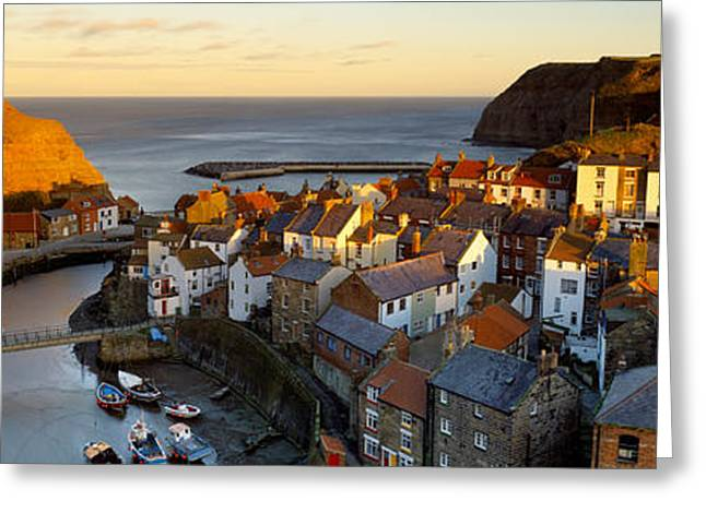 Water Vessels Greeting Cards - High Angle View Of A Village, Staithes Greeting Card by Panoramic Images