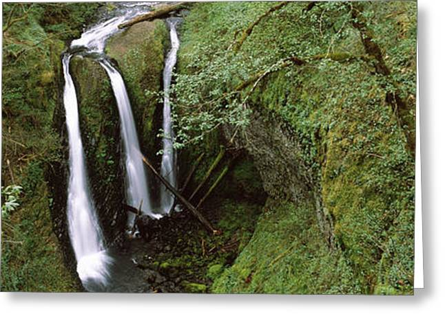 High Falls Gorge Greeting Cards - High Angle View Of A Waterfall Greeting Card by Panoramic Images