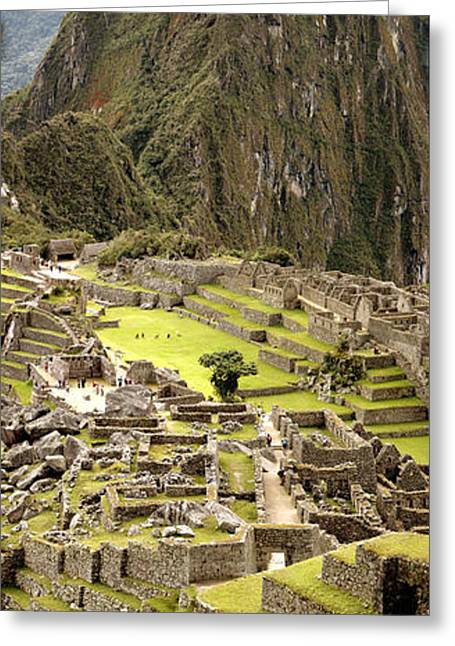 Inca Greeting Cards - High Angle View Of An Archaeological Greeting Card by Panoramic Images