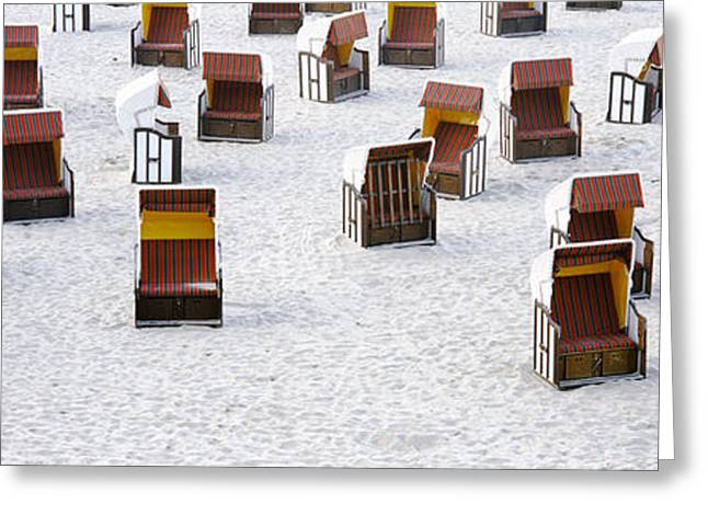 Disorder Greeting Cards - High Angle View Of Beach Baskets On The Greeting Card by Panoramic Images