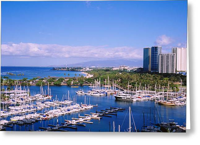 High Angle View Of Boats, Ala Wai Greeting Card by Panoramic Images