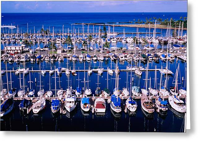 Nautical Vessel Greeting Cards - High Angle View Of Boats In A Row, Ala Greeting Card by Panoramic Images