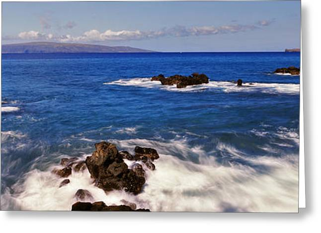 Cliffs Over Ocean Greeting Cards - High Angle View Of Surf At The Coast Greeting Card by Panoramic Images