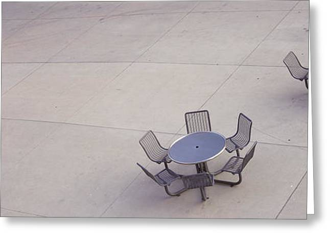 Silicon Greeting Cards - High Angle View Of Tables And Chairs Greeting Card by Panoramic Images