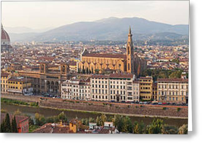Florence Greeting Cards - High Angle View Of The City Greeting Card by Panoramic Images