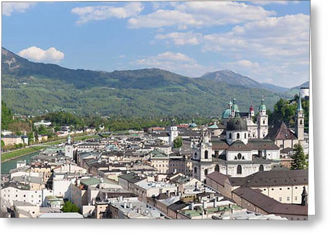 Salzburg Greeting Cards - High Angle View Of The Old Town Greeting Card by Panoramic Images
