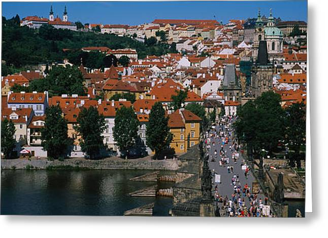 Vltava Greeting Cards - High Angle View Of Tourists Greeting Card by Panoramic Images