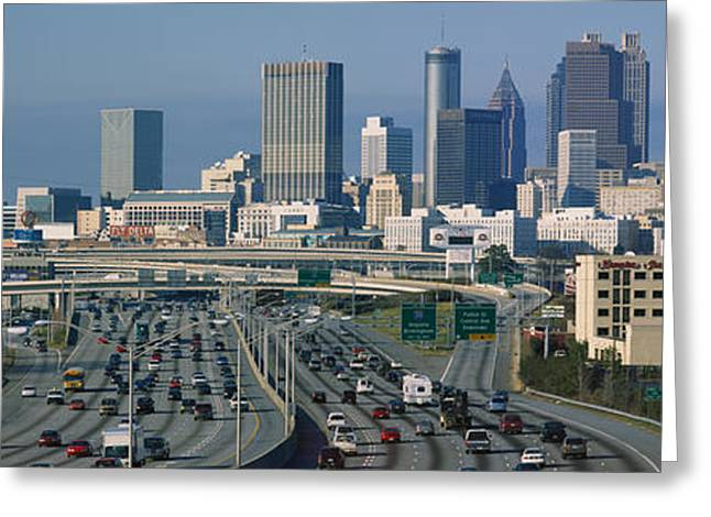 Script Greeting Cards - High Angle View Of Traffic Greeting Card by Panoramic Images