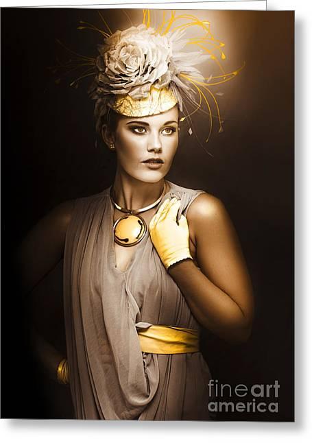 Discern Greeting Cards - High Fashion Model Greeting Card by Ryan Jorgensen