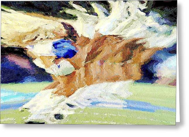 Cowboys Cheerleaders Greeting Cards - High Kicks Greeting Card by Carrie OBrien Sibley